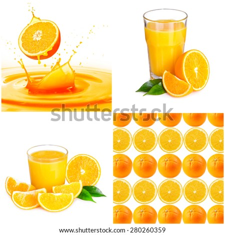 Collage of images with orange - stock photo