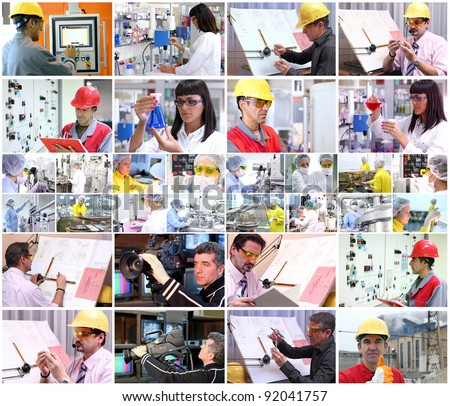 Collage of images with people from different professions at work. People at work. Professional Occupation. Working People. - stock photo