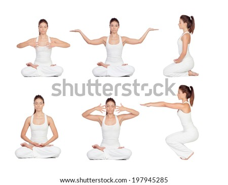 Collage of images with pretty woman doing yoga - stock photo