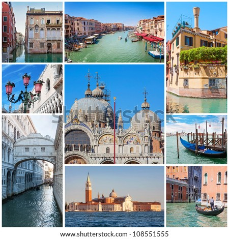 Collage of images with Venice, Italy. - stock photo