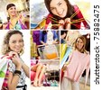 Collage of images with young female shoppers - stock photo