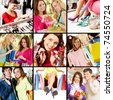 Collage of images with young people shopping - stock photo
