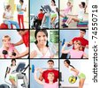Collage of images young people exercising in gym - stock photo