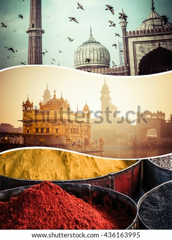 Collage of India images - travel background (my photos) - stock photo