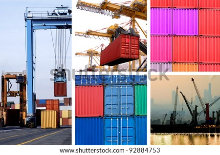 collage of industrial cranes for cargo containers in port - stock photo