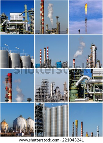 Collage of industrial photos - stock photo