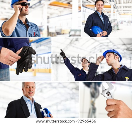 Collage of industrial workers in action - stock photo