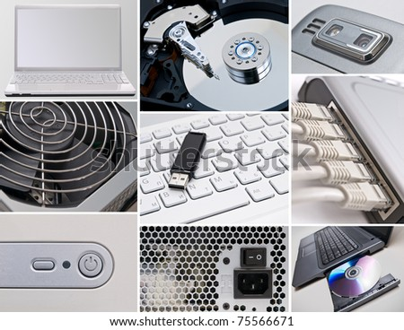 Collage of information technology - stock photo