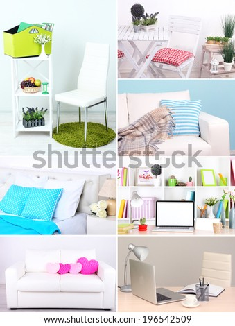 Collage of interior design - stock photo