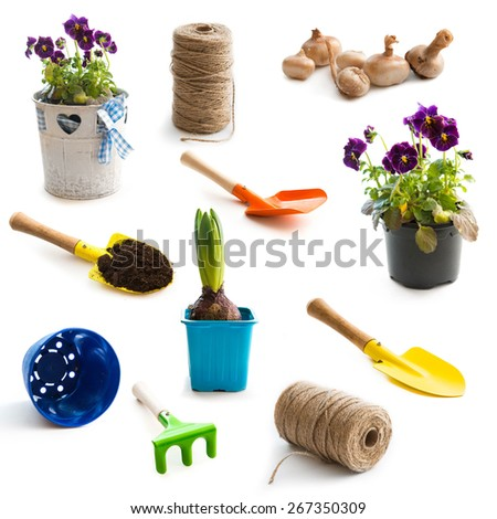 collage of isolated objects for gardening - stock photo