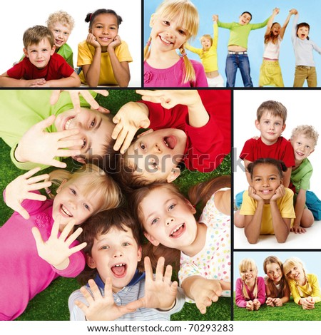 Collage of joyful children during their vacation - stock photo