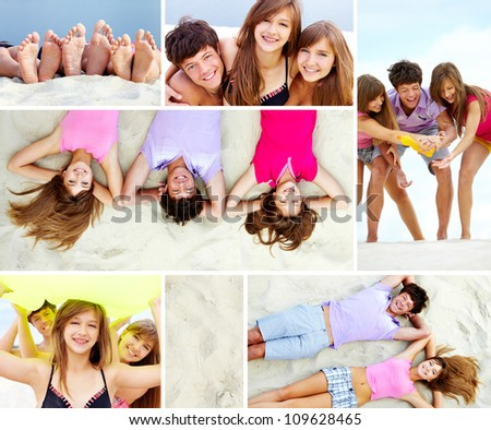 Collage of joyful teenage friends on sandy beach
