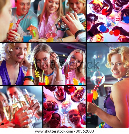 Collage of joyous guys and girls having a great party - stock photo