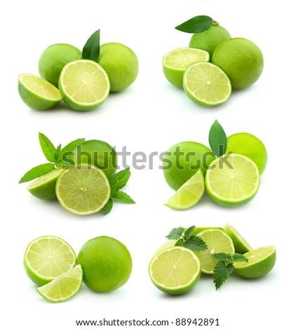 Collage of juice lime on white background.