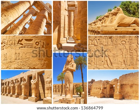 Collage of Karnak architecture in Luxor, Egypt - stock photo