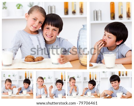 Collage of kids having a snack - stock photo