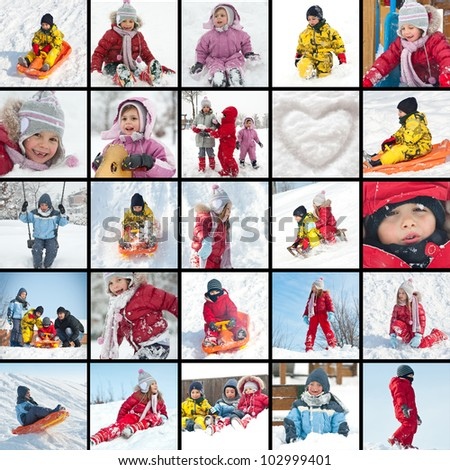 Collage of kids playing in the snow images. - stock photo