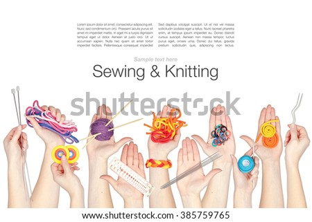 collage of knitting and knotting tools and threads in a hands isolated on white background - stock photo