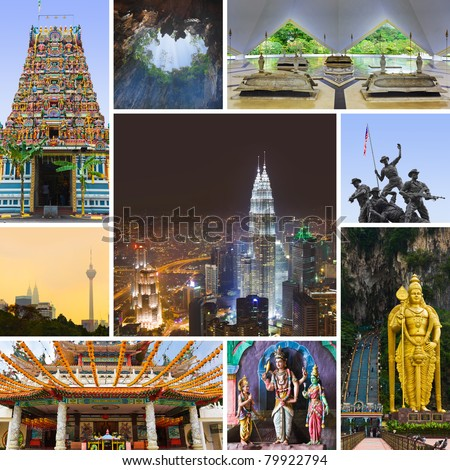 Collage of Kuala Lumpur (Malaysia) images - nature and tourism background (my photos) - stock photo