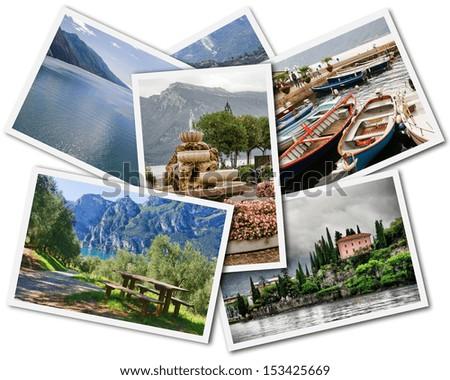 Collage of Lake Garda photographs depicting landmarks isolated on white background - stock photo