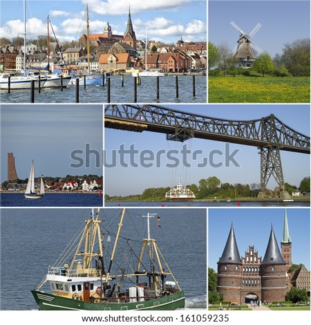 Collage of landmarks in Schleswig-Holstein, Germany