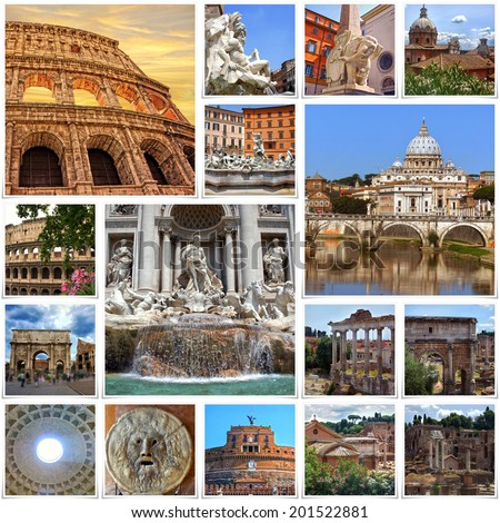 Collage of landmarks of Rome - stock photo