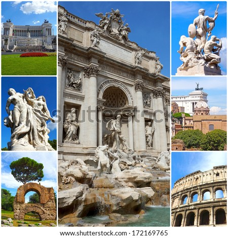 Collage of landmarks of Rome, Italy. - stock photo