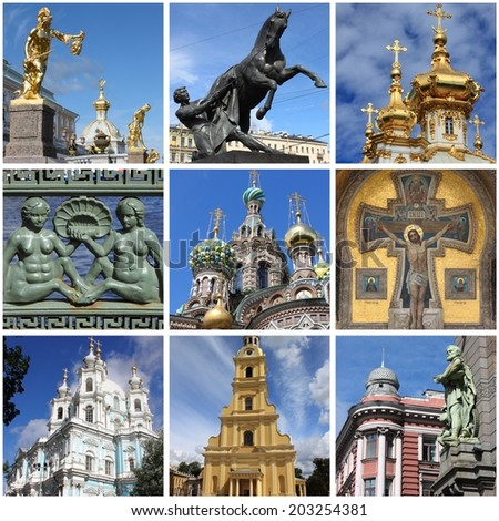 Collage of landmarks of Saint Petersburg, Russia - stock photo