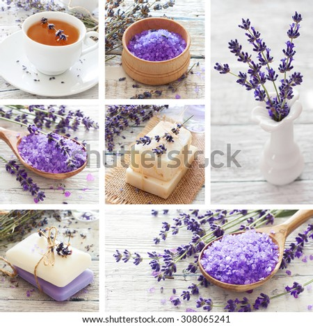 Collage of lavender and spa products in provence style