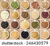 Collage of 20 legumes and cereals in bowls - stock photo