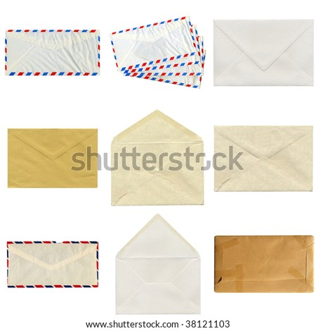 Collage of letter or small packet envelope isolated on white