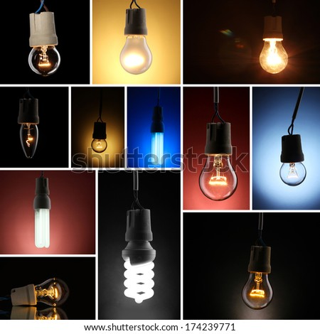 Collage of light bulbs on dark background - stock photo