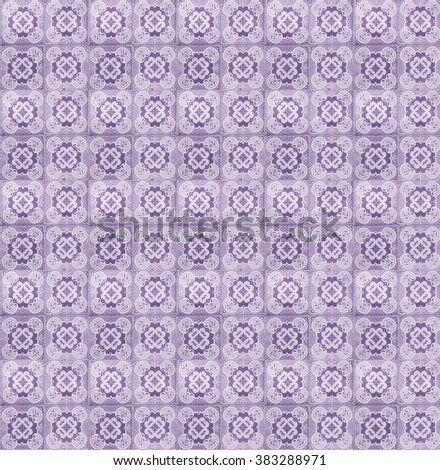 Collage of lilac tiles in Lisbon, Portugal repeated to create a seamless, tillable pattern. - stock photo