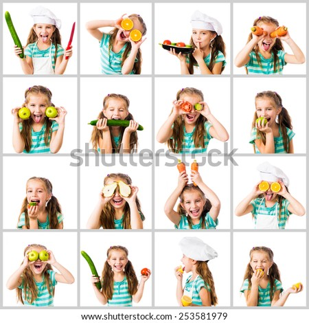 collage of little cute girl in a chef's hat and striped T-shirt with vegetables and fruits on a white background - stock photo