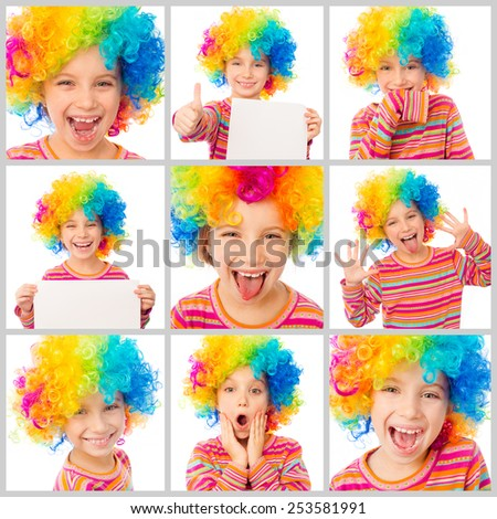 collage of little cute girl with a sheet of paper in his hands and in color clown wig makes faces on a white background - stock photo