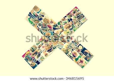 Collage of lots of popular worldwide dinner foods and appetizers in X shape - stock photo