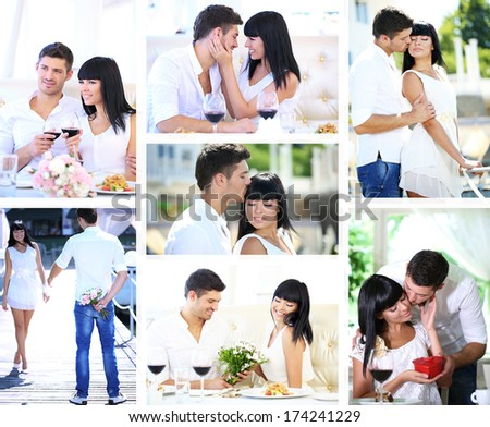 Collage of lovely couple - stock photo