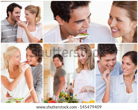 Collage of lovely couples eating salad