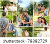 Collage of lovely couples enjoying a moment together in a park - stock photo