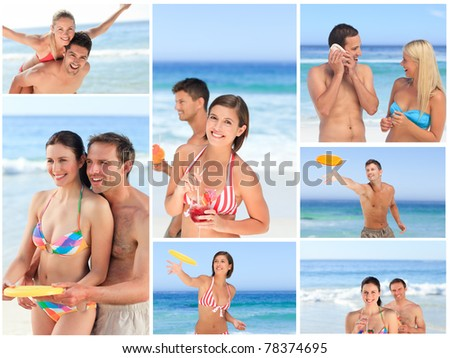 Collage of lovely couples enjoying a moment together on a beach - stock photo