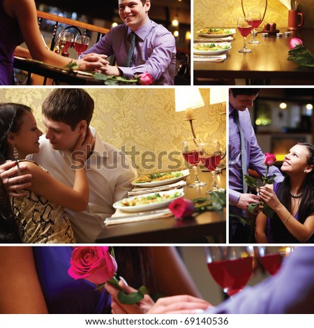 Collage of loving couple at Valentine?s Day
