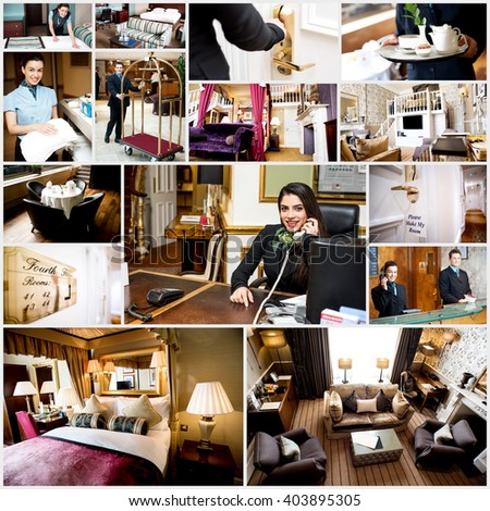 Collage of luxury living and bed room interior. Staffs at work. - stock photo