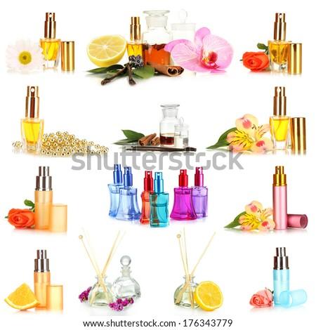 Collage of  luxury perfumes - stock photo