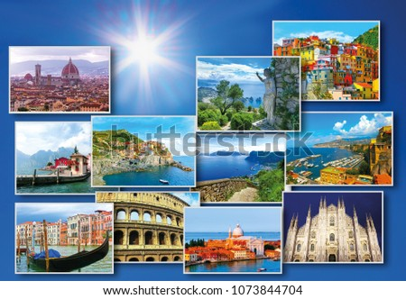 Collage Of Major Italian Travel Destinations From Photos Italy The Landscapes Garda Lake