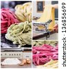 Collage of making fresh pasta from raw ingredients, rolling of pasta through pasta machine and different types of finished pasta - stock photo