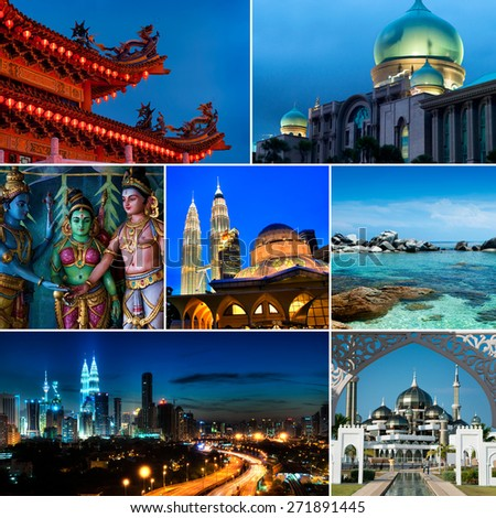 Collage of Malaysia images, Mosques, Chinese temple, Indian temple, landmark and nature. All picture belongs to me. - stock photo