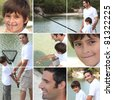Collage of man with little boy fishing - stock photo
