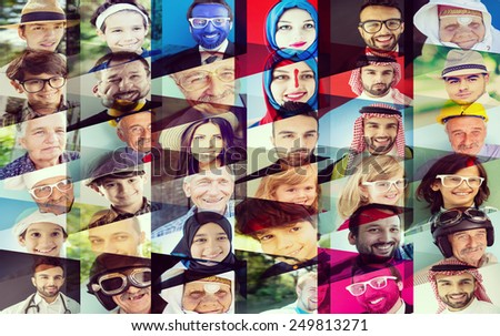Collage of many different happy human faces of people - stock photo