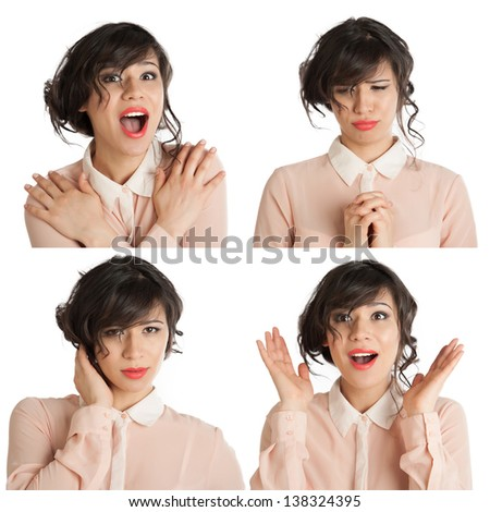 Collage of many expressions - stock photo