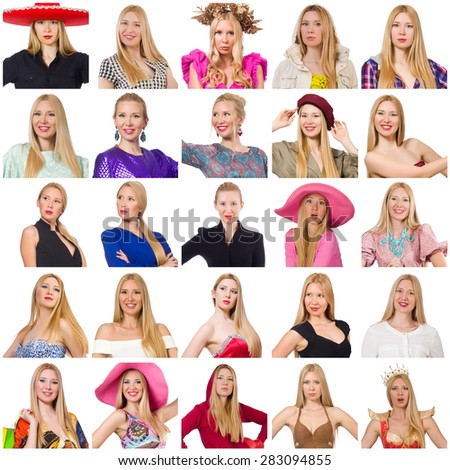 Collage of many faces from same model - stock photo